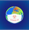coronavirus masked globe conceptual vector image