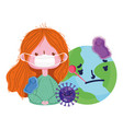 covid 19 coronavirus pandemic girl with medical vector image vector image