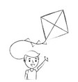 cute happy boy holding kite playing funny vector image