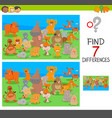 differences game with dog and cat characters vector image vector image
