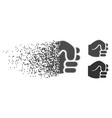 dissipated pixel halftone fist icon vector image