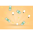 Dollar money and light bulb out from background vector image