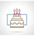 Flat color line birthday cake icon vector image vector image