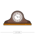 Flat colored mantel clock isolated on white vector image vector image