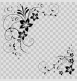 flower corner in black flowers on vector image