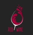 glass wine with splash logo design vector image vector image