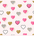 glitter gold and watercolor pink hearts seamless vector image