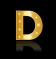 golden letter d shiny symbol vector image vector image