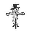halloween pumpkin scarecrow sketch vector image