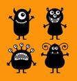 happy halloween monster set cute kawaii cartoon vector image