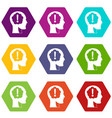 head with exclamation mark inside icon set color vector image vector image