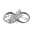 infinity symbol with feather vector image vector image
