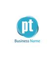 initial letter pt logo template design vector image