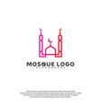 islamic logo design mosque logo template muslims vector image vector image