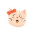 kitten girl with bow on head isolated pleased cat vector image vector image