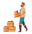 man farmer carrying vegetables boxes to market for vector image vector image