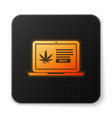 orange glowing neon laptop and medical marijuana vector image vector image