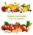 organic and healthy fruits and vegetables design vector image