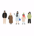 people dressed in outerwear isolated on white vector image