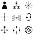 people network icon set vector image