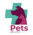 pets health isolated icon dog and cat vet clinic vector image vector image