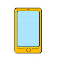 pop art yellow smart phone with dot screen for vector image vector image