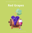red grapes best quality for wine production vector image