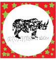 rhinoceros black 8-bit dog standing vector image vector image