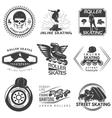 Roller Skating Black White Labels vector image vector image
