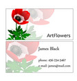 sample of business card of the employee of vector image vector image