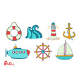 sea object ocean set marine icon anchor vector image
