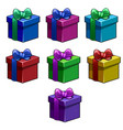 set colorful simple gift boxes with ribbon bow vector image