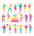 set of people having fun on birthday party vector image vector image
