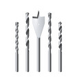set realistic steel drill bits isolated vector image