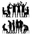 sport winners and losers silhouettes vector image