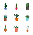 succulent cactus plant icon set flat style vector image vector image