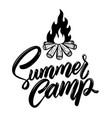 Summer camp lettering phrase with campfire