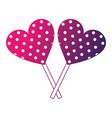 sweet lollipops of chocolate in shape heart vector image vector image