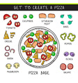 Template doodle set ingredient to build pizza vector image vector image
