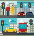 traffic lights semaphore banner set flat style vector image
