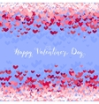 Valentines Day greeting in frame of red hearts vector image vector image