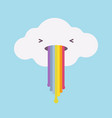 white cloud vomiting with a rainbow vector image vector image