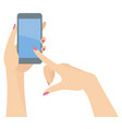 woman hands holding and pointing at a smart phone vector image vector image
