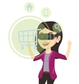 Woman in virtual reality headset shopping online vector image vector image