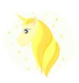 head of a golden unicorn gold horse hair vector image