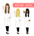 scientist woman showing ok hand sign vector image