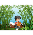 a boy holding a frame at rainforest vector image vector image