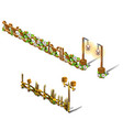 a set of fragments of a wooden fence decorated vector image vector image