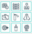 airport icons set with reception suitcase scanner vector image vector image