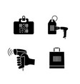 barcodes glyph icons set vector image